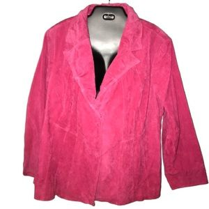 Pink Plus sized suede leather jacket in 3XL